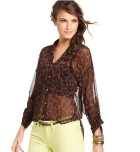 Free People Leopard Print Blouse